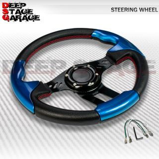 Universal 6 Bolt Aluminum Frame 320mm Racing Steering Wheel Black Blue Handling