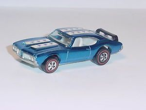 Vintage Mattel 70's Hot Wheels Redline Olds 442 Metallic Blue Car Nice Diecast