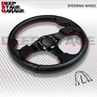 Standard 6 Bolt PVC 320mm Racing Steering Wheel w Thumb Rest Black Red Stitching