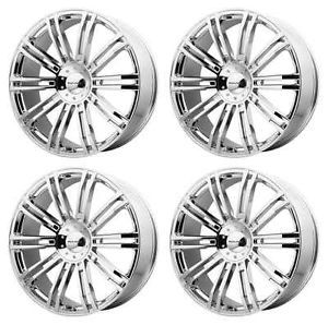 KMC KM677 D2 KM67722967212 Rims Set of 4 22x9 5 12mm Offset 6x135 5 5 Chrome