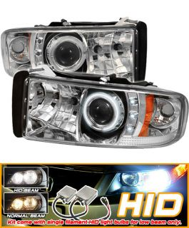 8K Xenon 94 01 Dodge RAM CCFL Halo Projector Headlights