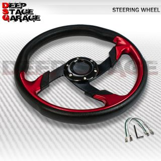Universal 6 Bolt Aluminum 320mm Racing Steering Wheel Black Red Zig Zag Rivets