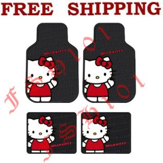 New 4pc Set Hello Kitty Sanrio Waving Rubber Car Truck Floor Mats