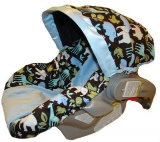 Infant Car Seat Cover for Baby Boy Blue Zoology Free SHIP