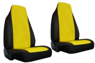 Yellow Black Faux Leather High Back Bucket Car Truck SUV Seat Covers 4 Pce Pkg X