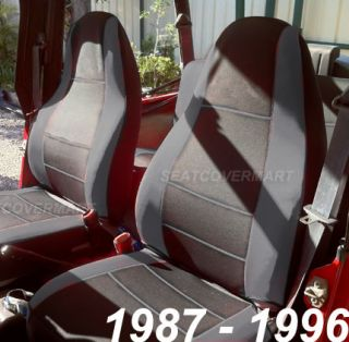 Neoprene Car Seat Cover Full Set Front Rear Charcoal 1987 96 Jeep Wrangler YJ