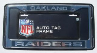 Oakland Raiders Chrome Metal Laser Cut License Plate Frame NFL Football New