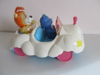 Vintage 1983 80's Care Bears Grumpy Bear Posable Soma Lion Cloud Car