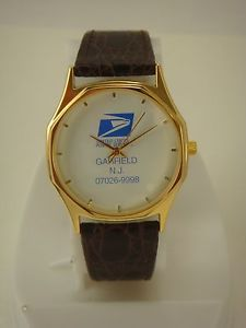 Collectable Men's United States Postal Service Watch Gold Case Brown Band