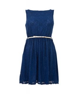 Madame Rage Blue Lace Belted Dress