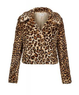 Brown Animal Print Faux Fur Jacket
