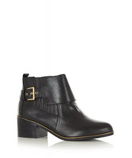 Limited Black Leather Metal Trim Panel Strap Ankle Boots