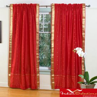 Fire Brick Red 84 inch Rod Pocket Sheer Sari Curtain Panel Pair (India) Curtains