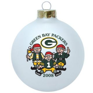 Green Bay Packers 2008 Santa's Elves Round Christmas Tree Ornament   Christmas Ball Ornaments