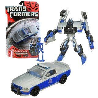 Hasbro Year 2007 Transformers Movie Series 1 Deluxe Class 6 Inch Tall Robot Action Figure   Decepticon RECON BARRICADE with Spring Loaded Punch Attack and Decepticon Frenzy Mini Figure (Vehicle Mode  Saleen S281 Gray/Blue Police Car) Toys & Games