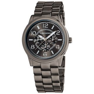 Vernier Women's V204 Round Gun Metal Chrono Look Bracelet Watch Vernier Women's Vernier Watches