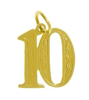 "Number Pendant for Celebrating All Occasions; Anniversary, Birthdays and Milestones, #269.10, 3/4"" Tall with Loop, Solid 14k Gold, Lovely Engraving in the Center, #10 Jewelry"