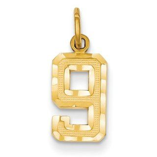 14k Small Diamond Cut Number 9 Charm   Measures 20.2x7.7mm   JewelryWeb Jewelry