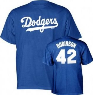 Jackie Robinson Majestic Cooperstown Throwback Player Name and Number Los Angeles Dodgers Youth T Shirt   Medium (10 12) Clothing