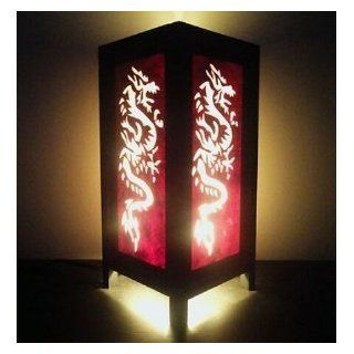 Thai Vintage Handmade ASIAN Oriental Handcraft Red White Chinese Dragon Style Bedside Table Light or Floor Wood Lamp Home Bedroom Decor Modern Design from Thailand