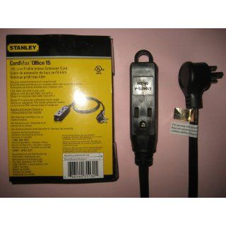Stanley 31132 CordMax Office Grounded Low Profile 3 Outlet Indoor Extension Cord, 15 Feet, Black