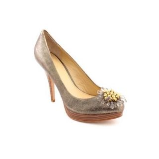 Coach Women's Bergen Soft Crackled Leather Heel Gold Pump Shoes Shoes