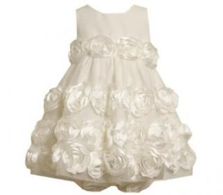Bonnie Jean Baby Girls Ivory Satin Flower Easter Dress, Ivory, 12 Months Clothing