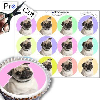 Cakeshop 12 x PRE CUT Cute Pug Dog Edible Cake Toppers Kitchen & Dining