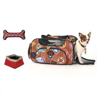 Bark n Bag Pet Carrier with Toy Bone and Travel Bowl   Brown and Black