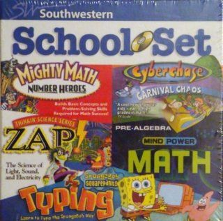 Southwestern School Set Mighty Math Number Heroes, Cyberchase Carnival Chaos, Thinkin' Science Series Zap, Mind Power Math Pre Algebra, Spongebob Squarepants Typing