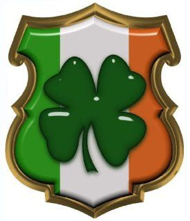 Irish Flag Shamrock Police Shield Reflective Decal   4 in. Decal