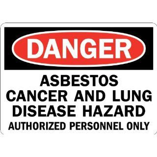 "Lyle Signs Engineer Grade Reflective Sheeting On Aluminum Safety Sign, ""DANGER ASBESTOS CANCER AND LUNG DISEASEetc"", 7"" Length x 10"" Width, Red and Black on White Industrial Warning Signs"