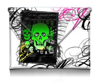 MyGift 8 10 inch Poisonous Beauty Green Skulls with Beautiful Butterfly Design Envelope Style Synthetic Leather Netbook Tablet Envelope Sleeve Slip Case Slim Fit Carry Bag for Apple iPad 1, 2 & 3 Kindle Fire HD 8.9 Samsung Galaxy Tab 2 10.1 Kindle Sto