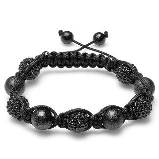 Jazzy Bracelet Pave Mens Ladies Unisex Hip Hop Style 12 mm Five Black Crystal and Four Frosted Black Ball Bead Unisex Adjustable Jewelry