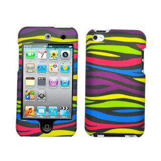 Hard Plastic Snap on Cover Fits Apple iPod Touch 4 (4th Generation) Rainbow Zebra Rubberized (does NOT fit iPod Touch 1st, 2nd, 3rd or 5th generations) Cell Phones & Accessories