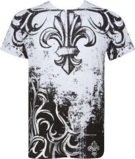 Sakkas Fleur de Lis Tree Branches Metallic Silver Embossed Cotton Mens T Shirt Clothing