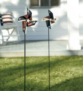 Painted Metal Americana Pinwheels with Yard Stakes Set of 2  Garden Stakes  Patio, Lawn & Garden
