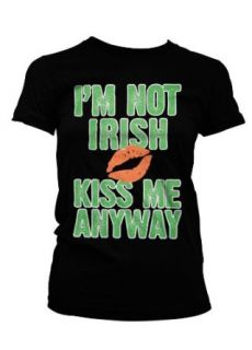 I'm Not Irish, Kiss Me Anyway Womens T shirt, St. Patricks Day Womens T shirt, Large, Olive Green Clothing