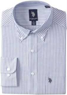 U.S. Polo Assn. Men's Stripe Oxford Dress Shirt, Navy Blue, 16 16.5/32 33 Clothing