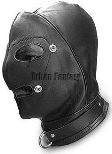 Deluxe Black Leather Hood with Ball Gag, Mouth & Mouth Cover  Other Products
