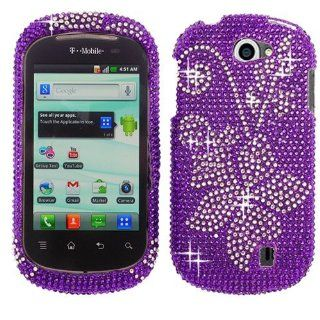 Purple Silver Flower Bling Rhinestone Crystal Case Cover Diamond Faceplate For LG DoublePlay Flip 2 C729 Cell Phones & Accessories