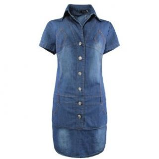 Gamiss Women's Retro Turn down Collar V Neck Slimming Denim Dress with Belts