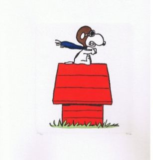 Art Illustration Etching By Charles Schulz Peanuts   Flying Ace Collectibles & Fine Art
