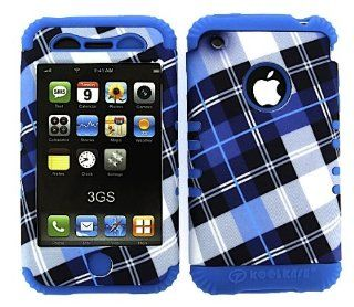 APPLE IPHONE 3G 3GS BLUE PLAID HEAVY DUTY CASE + LIGHT BLUE GEL SKIN SNAP ON PROTECTOR ACCESSORY Cell Phones & Accessories