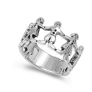 Sterling Silver Holding Hands Ring   Sterling Silver Children Ring Jewelry