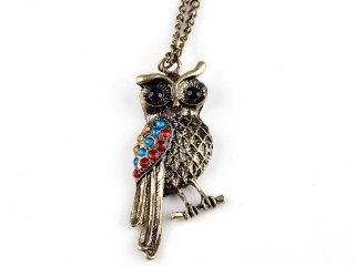 Fashion Jewelry Retro Vintage Crystal Owl Necklace Colorful Rhinestone Sweater Chain Jewelry