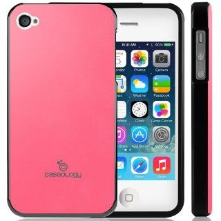 Caseology Apple iPhone 4 / 4S [Saffiano Hybrid Series]   Premium Matte Leather Shock Absorbent TPU Bumper Case (Pink) [Made in Korea] (for Verizon, AT&T Sprint, T mobile, Unlocked) Cell Phones & Accessories
