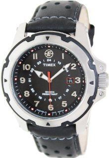 Timex Expedition Rugged Field Black Dial Black Leather Mens Watch T49625 Timex Jewelry