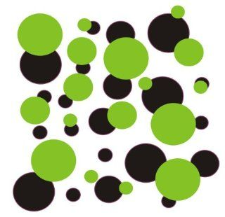 set of 106 Lime Green and Black polka dots Vinyl wall lettering stickers quotes and sayings home art decor kit peel stick mural graphic appliques decal   Wall Banners