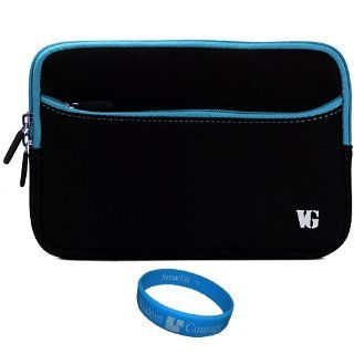 Blue Trim Durable Scratch Resistant Neoprene Sleeve Protective Carrying Case for Visual Land Prestige 7 Internet Tablet (ME 107 8GB) / Visual Land Prestige 7L (ME 107 L 8GB) 7 inch Android Tablet + SumacLife TM Wisdom Courage Wristband Computers & Acc